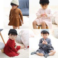 caldeirão venda por atacado-Meninas do bebê Inverno Saia De Lã Menina De Malha Vestido de Tricô Ruffles Vestido de Natal Do Bebê De Lã Rosa Vermelho Cinza Quente Saia