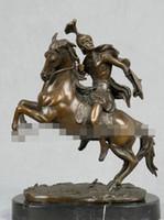 sculpture en bronze art déco achat en gros de-Art Déco Sculpture Usure Armure Chevalier Guerrier Rome Soldat Cheval Statue En Bronze