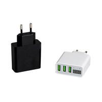 enchufe voltaje digital al por mayor-Triple puerto USB Plug 5V 3A Cargador rápido Adaptador de CA de viaje UE Voltaje Corriente Pantalla LCD digital para iPhone Cargadores de teléfono celular Android