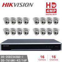 sistemas de vigilancia 16 al por mayor-Hikvision 16 canales 4MP Sistema de seguridad para el hogar 16pcs Cámaras domo 4MP DS-2CD2343G0-I Vigilancia IP Poe para interiores WeatherProod IP 16 canales NVR