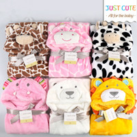 toalhas de banho 3d venda por atacado-10 PCS! 3D dos desenhos animados Cobertores Do Bebê Macio 76 cm * 92 cm 0-6 anos de idade Crianças cobertor fllannel crianças toalha de banho bonito animal forma bebê manto