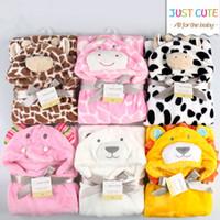 manteau animal enfants achat en gros de-10pcs! 3D dessin animé doux bébé couvertures 76 cm * 92 cm 0-6 ans enfants fllannel couverture enfants serviette de bain mignon forme animale bébé manteau