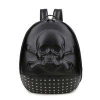 сумки для ноутбука с черепом оптовых-3D череп оригинальный заклепки ноутбук рюкзак мужчины личность школьные сумки европейский стиль путешествия женщины рюкзаки мешок dos femme