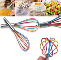 Wholesale colorful utensils - Kitchen Egg Frother Milk Beater Blender Colorful Silicone Balloon Wire Whisk Stainless Steel Whisk Mixer Kitchen Utensils New EEA68