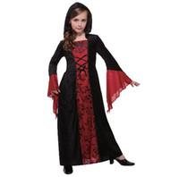 ropa de fiesta xxl al por mayor-2018 Nuevo estilo para niños Cosplay Gothic Madam Vampire Party Ropa de capa Niños y niñas Danza Ropa combinada