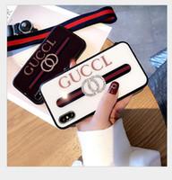 ingrosso sacchetti di telaio del progettista-Custodia di design in vetro temperato di lusso per iPhone X XS Max XR 6 6S 7 8 Plus custodie per borsa Fashion Street Phone con cordino