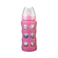 Wholesale Brand Maternal And Child Supplies ml Crystal Diamond Glass Wide Caliber With Anti drop Silicone Sleeve Baby Bottle FJ
