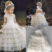 bebek tişörtlü dantel tutu toptan satış-2020 Bohemia Plaj Katmanlı Ruffles Prenses Çiçek Kız Elbise İçin Düğünler A Hattı Tutu Küçük Bebek Modelleri Ucuz Dantel Communion Elbise