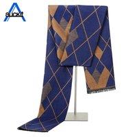 ingrosso coperte di spazzole-Uomo autunno inverno sciarpe caldo seta spazzolato simulazione diamanti Tetris geometrico sciarpa scialle avvolgere coperta caldo CA-103