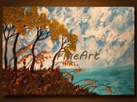 ingrosso dipinti a olio astratti strutturati-Dipinti ad olio dipinto a mano astratto spatola strutturato seascape pittura a olio su tela dipinti casa merci pittura a olio decorazione della casa