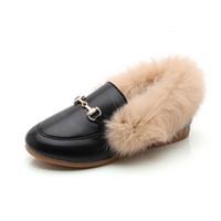 sapatos de coelho venda por atacado-sapatos pretos peludos EUR27-34 Rabbit Fur Shoes Menina do inverno e outono quente e caixa whithout respirável