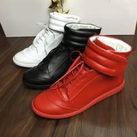 namen sneakers großhandel-Neue Designer Doppel Box Hohe Qualität Mann Name Marke High Top HookLoop Mischfarben Wohnung Billig Sneaker Freien Schuhe Größe 39-46