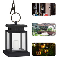 Wholesale outdoor candles lanterns - Hot Outdoor Portable Candle Lantern Solar Powered Led Light Hang Lamp waterproof Garden Yard Lawn Wall Landscape Lamp LED wall lamp