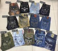 cristal balançado venda por atacado-2018 novo estilo Homens Robin Rock Revival Jeans Cristal Studs Denim Calças Calças de Brim Dos Homens mens Designer plus size 30-42