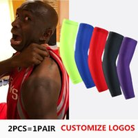 Wholesale Knee Support Pair - New Brand A Pair Sport basketball Arm Sleeves pads Safety Elbow Pad Solid Color Arm Support Calf Compression arm sleeves Sport Protector R10
