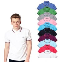 Wholesale Polo Shirt Custom - 2018 Sales Famous Business men shorts sleeve Polo shirts Popular Cotton embroidery Wheat Polos Custom Designer made Fred Dress shirts