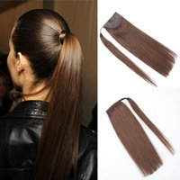 Wholesale wrap around ponytail extension human hair resale online - 9A Grade Human Hair Ponytail Extensions Wrap Around Real Brazilian Remy Hair Brown color Clip in Ponytail g