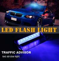 12v führte strobe warnlicht großhandel-12V 8 LED Notfall Strobe Flash Warnlicht LED Blinklichter Rot Blau Weiß Grün Polizei Lichter Auto Styling