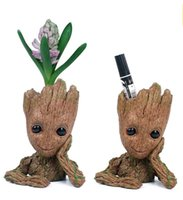 Wholesale toy pots online - Tree Man Action Figure Doll Phoneholder Flowerpot Grunt Guardians of The Galaxy Baby Grootted Model pen and flower pot Toy