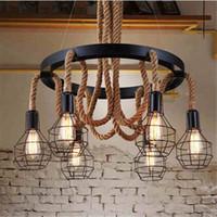 Wholesale Rope Chandeliers - Retro led rope pendant Lights edison Industrial pendant light chandelier Vintage Restaurant Living bar lighting