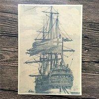 freies vintages plakat großhandel-Freies schiff Antiken segelboot port poster farbe Retro Kraft Poster vintage Wandkunst Aufkleber Wohnzimmer bild 42 * 30 CM YIP-A056