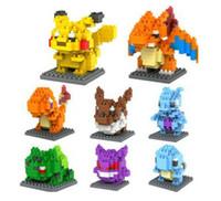 oyuncaklar minifigure toptan satış-LOZ Elmas blokları Pikachu Minifigure 3D bulmaca Yapı Taşları 8 stil gengar Lapras Charmander Bulbasaur Jeni kaplumbağa Tuğla Oyuncaklar