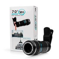 iphone telescópio 12x venda por atacado-Universal 12x70 lente zoom da lente do telefone telescópio lente do telefone óptico para iphone para samsung clipe eightight lupa com suporte
