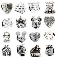 ingrosso migliori collane di branelli-Promozione 25 diversi migliori gioielli in lega di vendita perline gioielli stile retrò europeo per la collana di pandora braccialetto nuovo