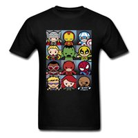 coton t-shirt de super-héros achat en gros de-Hommes T Shirt Kawaii Superhero Conception De Grille Tops Tees 100% Coton Col Rond Manches Courtes Casual Tee Shirt Thanksgiving Day