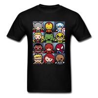 ingrosso magliette supereroe in cotone-Maglietta da uomo Kawaii Superhero Grid Design Top T-shirt 100% cotone tondo manica corta T-shirt casual Giorno del ringraziamento