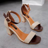 sandalias de gladiador de tacón medio al por mayor-BEIGE + MARRÓN OSCURA Sexy Summer Women Mid Heels Sandalias Open Toe sandalias de mujer Zapatos de mujer de tacón grueso estilo coreano Gladiador Zapatos