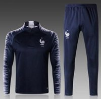 Wholesale royal clothes - new 2018 19 French sport suit French football teams countries survetement royal blue pogba GRIEZMANN football training for clothing