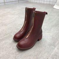 ingrosso stivali in gomma bianca nera-Classica suola da 8 pollici in pelle di pecora abbronzata a strato corto con suola alta marrone rossiccio in bianco e nero da 2,5 cm.