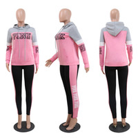 Wholesale Ladies Sweatshirt New - Pink Letter Print Women Hoodie and Long Pants 2pcs Set Ladies Girls SweatShirts and Trousers Suit Spring Tracksuit Casual Sportswear new hot
