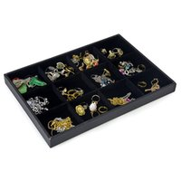 Wholesale black velvet ring display tray for sale - Group buy High Quality Velvet Jewelry Display Tray Removable Grids Ring Earring Storage Box Black Necklace Watch Organizer Display Tray cm