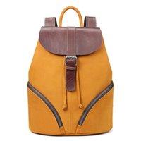 brauner rucksack großhandel-XIYUAN frauen braun / grau Echtem Leder Rucksack Schulter Schultaschen für Jugendliche Reise Öl Wachs Kuh Weiblichen Rucksack Zurück Tasche