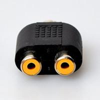 añadir autos al por mayor-Car Auto 3PCS 2 RCA Hembra a 1 RCA Macho Y Splitter Adapter -RCA Inputs Add-on para el lado de navegación del automóvil para expandir Single Reverse Cam Video