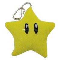 Wholesale mario keychain plush online - Super Mario plush toys new Mario star Stuffed Animals cm inches cartoon Dolls Pentagram Keychain Cellphone strap C4159