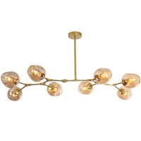 Wholesale light brown wedges - Modern Lindsey Magic muti-heads branch glass pendant light with E27 LED bulb hanging lamp lustre suspension for Living room Hotel decor