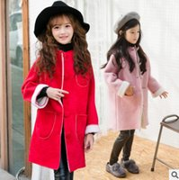Wholesale Pink Coat Double Breasted - Children faux suede outwear winter girls fleece thicken warmer princess coat fashion kids single breasted double pocket trench coat R1715