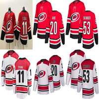2018-2019 Season Carolina Hurricanes 20 Sebastian Aho 53 Jeff Skinner 11  Staal Hockey Jerseys Men All Stitched Jerseys 2d8c1048c