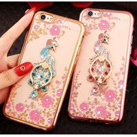 Wholesale Peacock Rings - Luxury Bling Peacock Diamond Ring Holder Case Crystal Flexible TPU Cover With Kickstand For Samsung S4 S5 S6 edge Plus Note 3 4 5