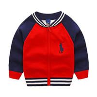bordado de algodão de meninos venda por atacado-Outono e Inverno Novo Menino Bordado Com Zíper Camisa de Algodão Jacquard Camisola Crianças Pequenas Camisola Casaco Frete grátis