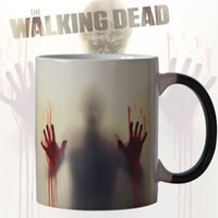 Wholesale pink zombie - Newest Design Zombie Color Changing Coffee Mug Heat Senstive Magic Tea Cup Mugs Walking Dead Bloody Hands Gift