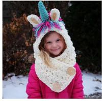 ingrosso crochet del cappello del cowboy della ragazza-Cappelli invernali per bambini Ragazzi per bambini Bambini Unicorno Crochet Cappellini caldi Sciarpa Set Baby Bonnet Cartton Cute Hat for Girl Boy