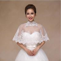 vestido de casamento coreano marfim venda por atacado-A noiva vestido de noiva xale, tamanho coreano casaco, colete de renda branca, verão de volta fivela de gaze manto, cor marfim