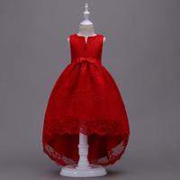 niña de flores rojas vestido de tul arco al por mayor-ALI VENTA CALIENTE Red Lace Flower Girls Dresses Desgaste del cumpleaños con Bow Sash Princess Girls Tulle Ball Dress Vestidos de comunión D03