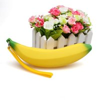 Wholesale Banana Keychain - Wholesale- 1Pc NEW Portable Silicone Banana coin Pencil Case Wallet bag purse bag key Keychain Cosmetic Jewelry Gifts Waterproof