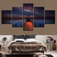 Wholesale canvas pier - Modular Wall Art Pictures Canvas Poster 5 Panel Ocean Pier Under Milky Way Sky Painting Bridge For Living Room Decor Framework