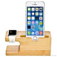 apfel wiege ladung großhandel-Bambus Holz Ladestation für Apple Watch Ladestation Station Ladegerät Ständer Halter für iPhone 5s 6 Dock Stand Cradle Halter